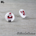 Christmas - Santa Claus - Red White - Stud Earrings