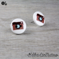 CAMERA  - Buttons - Button Stud Earrings - stripes red tones - Photograph