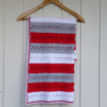 crochet afghan | red grey white | baby shower gift | birthday, travel, all ages