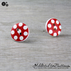 Bold Red with White Spots Button - Stud Earrings