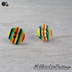 Rainbow Stripes Button - Stud Earrings