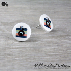CAMERA  - Buttons - Button Stud Earrings - Turquoise Peach Stripes - Photograph