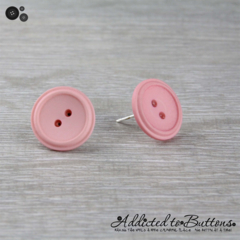 Vintage Pink - Gorgeous - Button - Stud Earrings