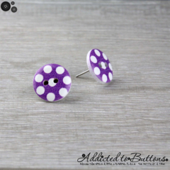 Bold Purple with White Spots Button - Stud Earrings
