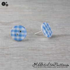 Blue - Light - Check Gingham - Country Style - Button - Stud Earrings