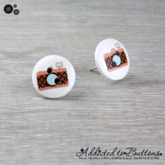 CAMERA  - Buttons - Button Stud Earrings - red Black Orange - Photograph