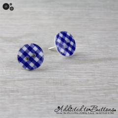 Blue - Navy - Check Gingham - Country Style - Button - Stud Earrings