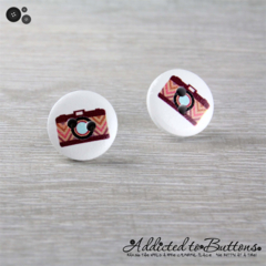 CAMERA  - Buttons - Button Stud Earrings - red maroon chevron - Photograph