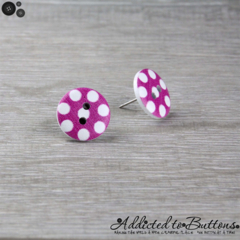 Bold Pink Fuchsia with White Spots Button - Stud Earrings