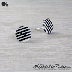 Black and White Stripes Buttons - Stud Earrings (two hole buttons)