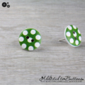 Bold Lime Green with White Spots Button - Stud Earrings