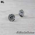 Black and White Stripes Buttons - Stud Earrings (four hole buttons)