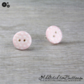 Pastel Pink with White Spots Button - Stud Earrings
