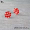 Red Check Gingham - Country Style - Button - Stud Earrings
