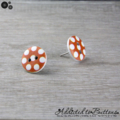 Bold Orange with White Spots Button - Stud Earrings