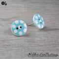 Bold Teal - Turquoise with White Spots Button - Stud Earrings