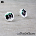 CAMERA  - Buttons - Button Stud Earrings - White Black