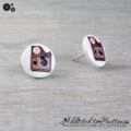 CAMERA  - Buttons - Button Stud Earrings - red Brown Instagram - Photograph