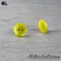 Yellow Daisy Flower - Pearl Effect - Button - Stud Earrings