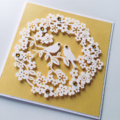 Lovebirds wreath of paper blooms yellow love anniversary celebrate card