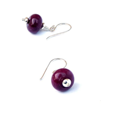 Purple Plum and Sterling Silver Earrings