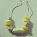 Yellow natural wood geo bead polymer clay adjustable tan waxed string necklace