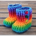 Crochet Baby Booties Rainbow 6-12 months, crochet booties