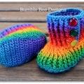 Crochet Baby Booties Rainbow 6-12 months, crochet booties