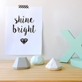 SHINE BRIGHT - resin gem shelfies - marble, grey, mint - set of 3