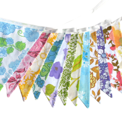 Vintage Retro Pretty Multi-Colour Floral Flag Bunting. Party, Home Decoration