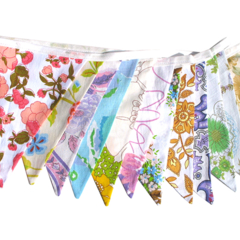 Vintage Retro Pretty Multi-Colour Floral Bunting. Garden Party, Home Decoration