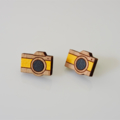 Fun Wood Yellow Camera Earring Stud