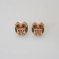 Blue Wing Owl Wooden Earring Stud