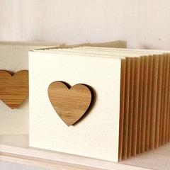 5 Bamboo heart mini  gift cards Blank Birthday Christmas Wedding Thank You