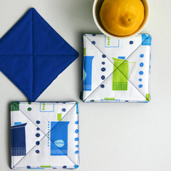 Retro Kitchen Fabric Coasters Set of 4. Coffee Pots in Green, Blue and White