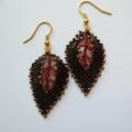 'Russian Leaf' Beaded Earrings