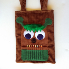 Brown corduroy monster colouring in bag with pencil teeth