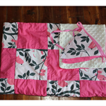 Pink bird nursery set minky backed cot blanket with matching bunting