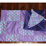 Purple elephant minky backed cot blanket with matching bunting