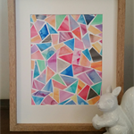 Original Multi coloured Geometric watercolour (unframed)