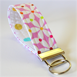 Wrist Key Fob - White Pinwheels with Rainbow Dots on Pink