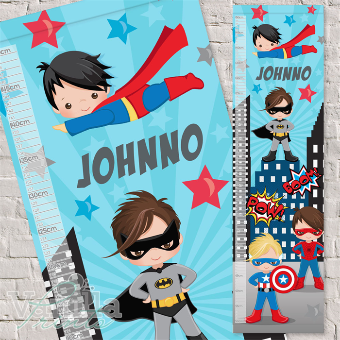 Superhero Dress Up Boys Personalised Fabric Height Growth Chart