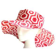 Ladies Red and White Geometric Sunhat Size 58.5cm