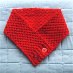 Neckwarmer, Merino Wool, Hand Spun & Knitted, Red, Buttoned, Gift for Her