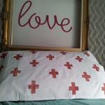 hand printed pair of pillowcases copper crosses