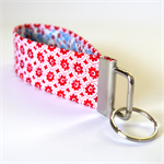Wrist Key Fob - Tiny Red Flowers on White