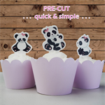 12x baby girl panda EDIBLE wafer stand up toppers PRE-CUT