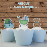 12x baby boy shower blue green EDIBLE wafer stand up toppers PRE-CUT