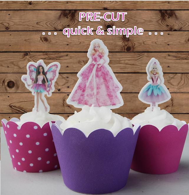 12 Pre-Cut Edible Barbie Cupcake Toppers