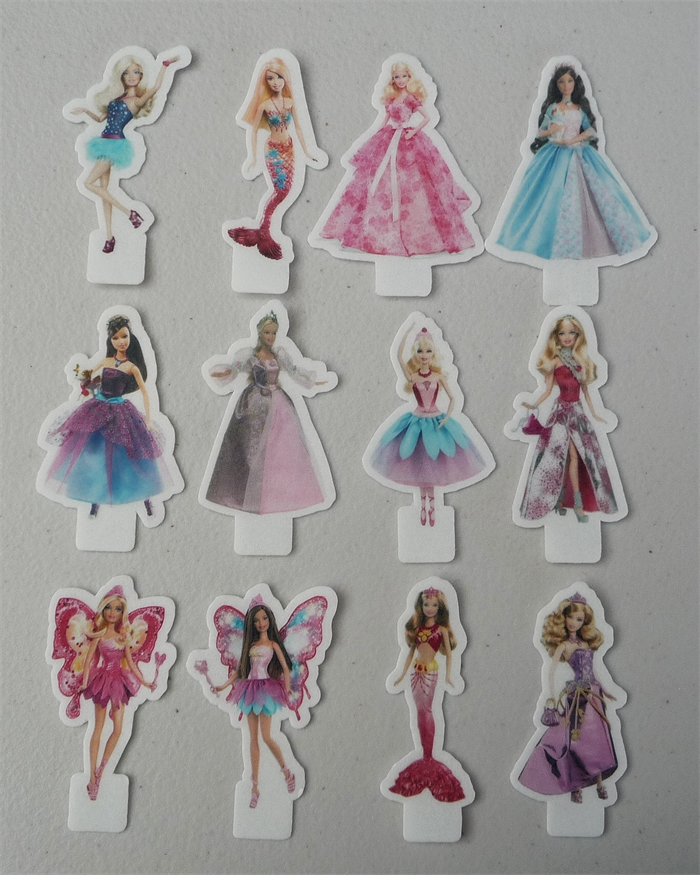 12x Barbie EDIBLE Wafer Stand Up Cupcake Toppers PRE CUT